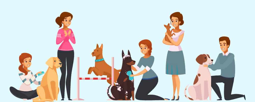 Female Dog owners with different dog breeds